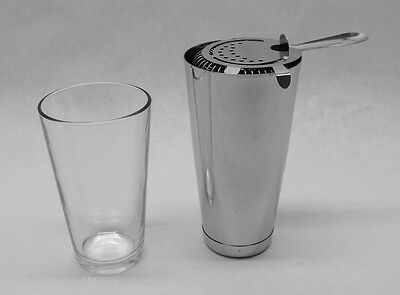 3 Piece BOSTON SHAKER SET Glass, Strainer & WEIGHTED Tin Bar Cocktail Mixing Kit
