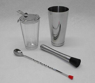 5 Piece BOSTON SHAKER SET Glass, Strainer, Muddler, Spoon & WEIGHTED Tin Bar Kit