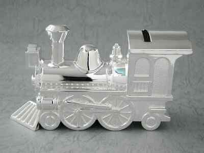 New Money Box Bank Train Silver Plated Baby Shower Christening Gift Naming Day