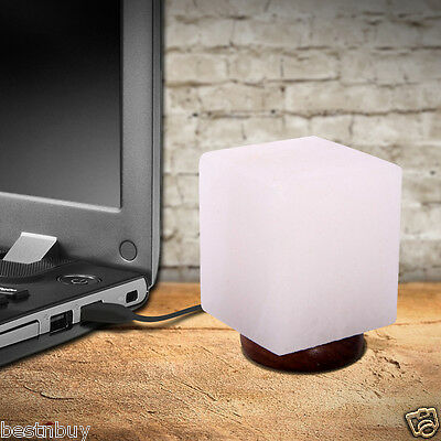Himalayan White USB Cube Lamp with Multi-Colour  Bulb New