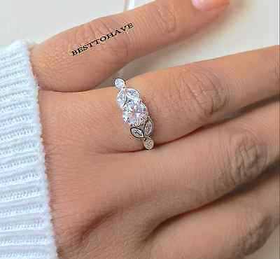 New Boxed 925 Sterling Silver Ladies Wedding Engagement Round Cut Bridal Ring