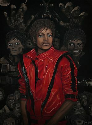 """Spooky Michael Jackson """"Thriller"""" Inspired Painting (Fine Art Poster) - 18"""" x 24"""