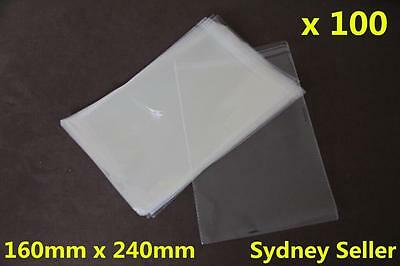 100pcs Self Adhesive Self Seal Resealable Clear Plastic Cellophane Bags 16x24cm