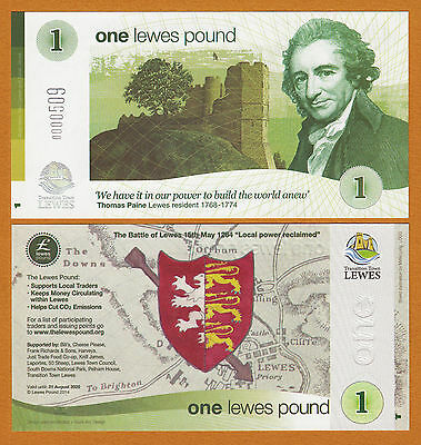 UK Lewes 1 5 10 21 Pound 2009 UNC Local Currency Banknote Set 4 pcs 2nd Series