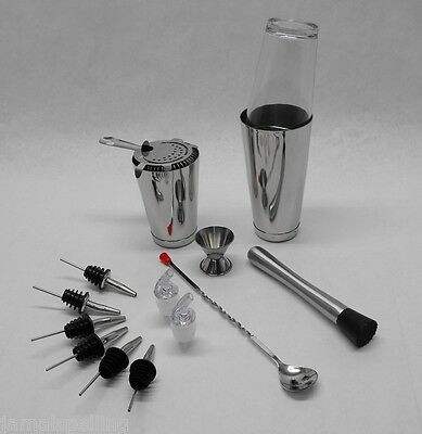 15 pc. BOSTON SHAKER SET Strainer, Muddler, Spoon, Jigger, WEIGHTED Tin Bar Kit