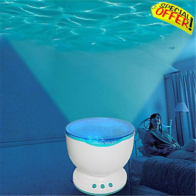 Calming Autism Sensory Toy LED Light Projector Relax Blue Sky Night Waves Music