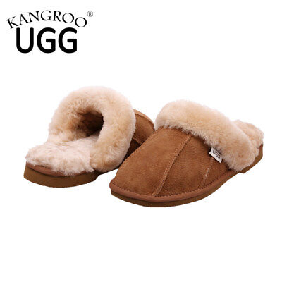 NEW Australian Mens/Womens Genuine Sheepskin Ugg Slippers Winter Lambskin Scuff