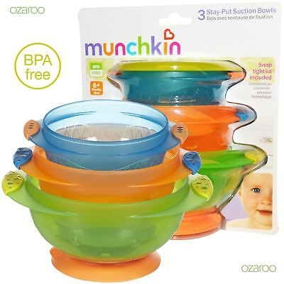 Munchkin Baby Toddler Stay Put Coloured Feeding Suction Non-Spill Bowls 3 Pack