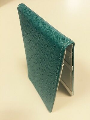 SS Tour | Ostrich Leather Golf Scorecard & Yardage Book Holder Turquoise/wht New