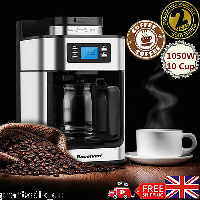 10 Cup Filter Coffee Maker Machine Automatic Programmable W/ Stainless Grinder