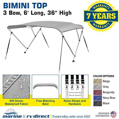"Bimini Top Boat Cover 36"" High 3 Bow 6' ft. L x 73"" - 78"" W GRAY"