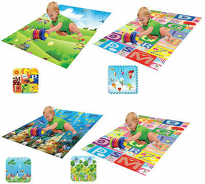 Kids Double-Sided Playmat Soft Waterproof Double Sided Puzzle Play Mat Rug Fun