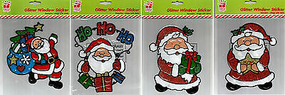 Santa Claus Cling On Window Decorations Stickers Re Usable Christmas Decoration