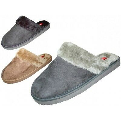 Mens Faux Suede Slippers House Shoes Slip On Indoor Outdoor Comfort