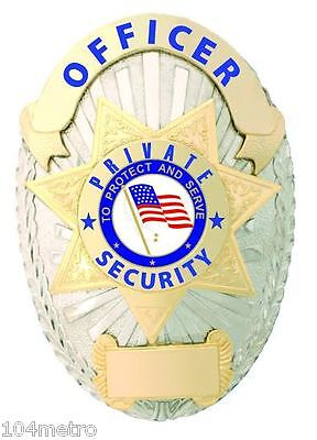 Obsolete Officer Private Security Officer Sergeant Shield Badge with Flag Seal