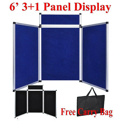 6' 3+1 Velcro Blue/BK Panel Header Trade Show Display Presentation Tabletop 6Ft