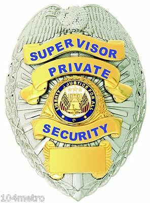 Obsolete Supervisor Private Security Officer Flags in Center Seal Gold & Silver