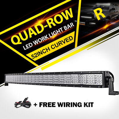 "Quad row 52/""INCH 3600W Curved LED Light Bar Offroad ATV PICKUP 4WD BOAT 50/"" 54/"""