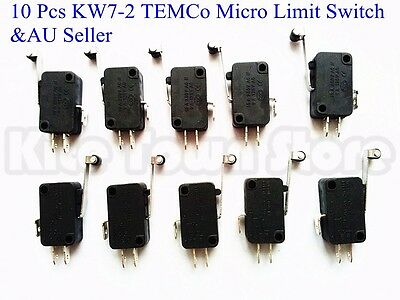 10 Pcs KW7-2 TEMCo Micro Limit Switch Roller Arm Subminiature SPDT Snap Action