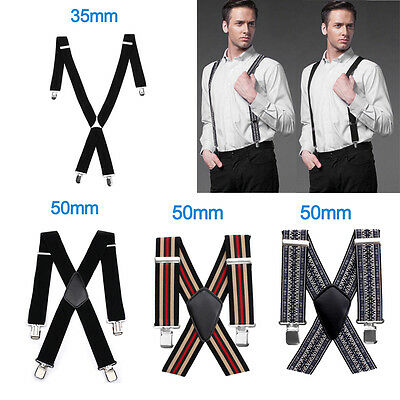 35MM / 50MM Adjustable Plain Mens Braces Suspenders Heavy Duty Trouser Elastic
