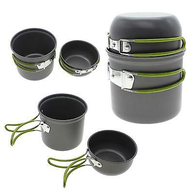 Outdoor Backpacking Camping Hiking Cooking Picnic Cookware Bowl Pot Pan Set Kit