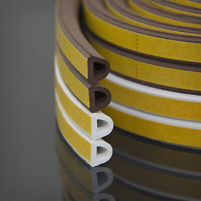 D profile 9x7.5mm white WINDOW SEAL self-adhesive strip rubber door draught excl