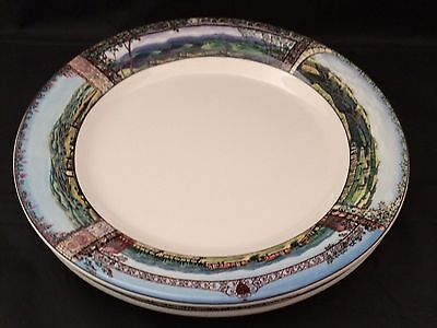 "2 Sakura Tuscan Travels Dinner Plates 10 7/8"" Small Nick"