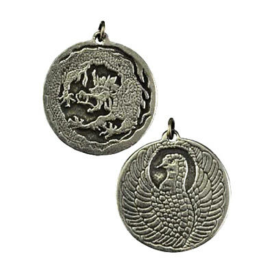 "Dragon & Phoenix Two Sided Amulet Talisman Good Luck Charm 1"" Necklace Pendant"