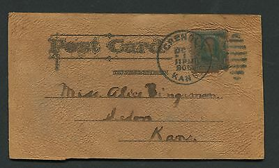 Leather Postcard Mailed From Grenola, Ks, In 1906 *