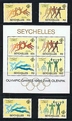 STAMPS  SEYSHELLES   1984 OLYMPLC GAMES  stamps +  Ms.  (MNH)  lot 637b