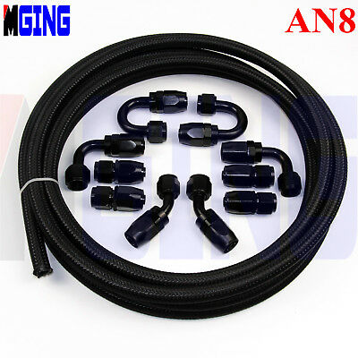 AN8 AN 8 8AN Stainless Steel Nylon Braided Oil Fuel Line 3m + Hose End Fitting