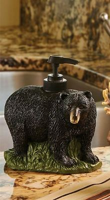 Black Bear Country Cabin Home Resin Soap/Lotion Dispenser
