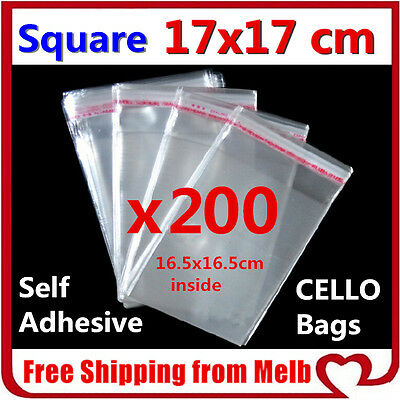 200x Cello Bag 170x170mm Cellophane Clear Resealable Plastic Self Seal Adhesive