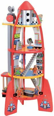 New Multi Level Wooden Rocket Ship Toy Play Set Space