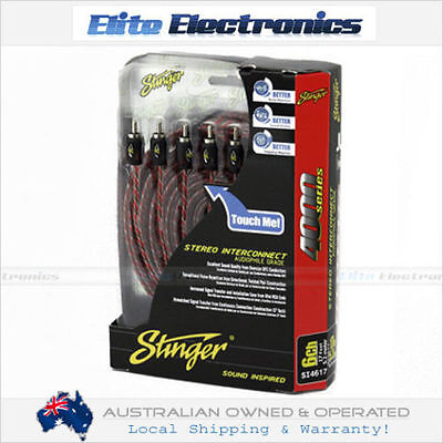 Stinger Si4612 3.6M 6 Channel Rca Interconnect Cable Audio Signal Twisted Pair
