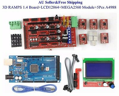 AU 3D Printer Kit RAMPS 1.4 Board+LCD12864+MEGA2560 Module+5 xA4988 for RepRap