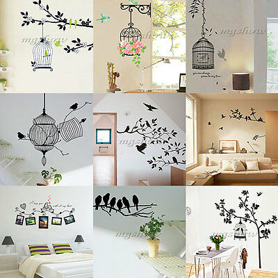 Birdcage Tree Removable Art Vinyl Quote Wall Stickers Decal Mural Home Kid Decor