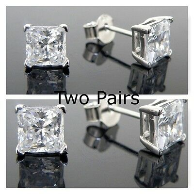 Two Pairs of Mens Cubic stud earrings 925 silver 1 x 10mm & 1 x 8mm square  CZ