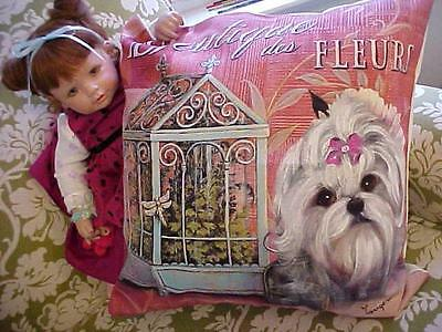 Maltese  Hand Painted Pillow  Beauuutiful!! !