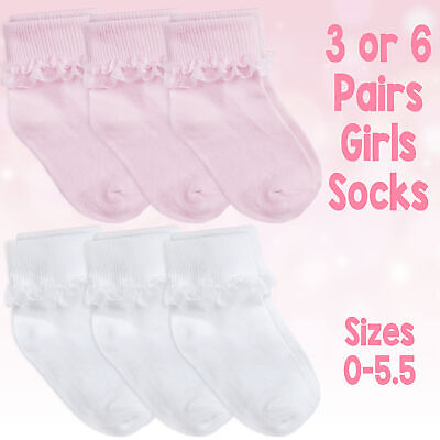 Baby & Girls Socks Soft Breathable Cotton Rich Cute Frilly Lace In 3 & 6 Bundle