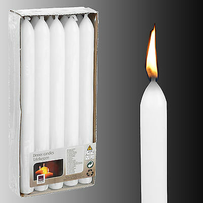 Box of 10 x Tall White Unscented Dinner Table Candles Wedding Centrepiece Pack