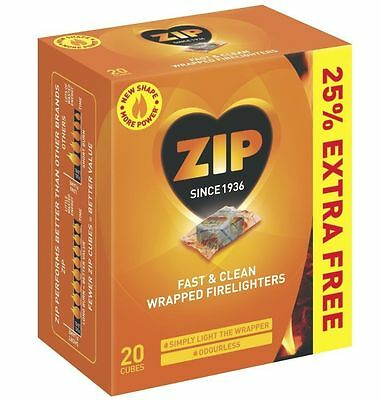 Zip Fast & Clean 20 Cubes Wrapped Firelighters For Stove Fire Places BBQ