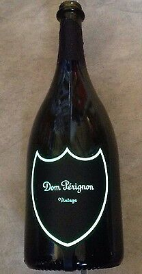 Dom Perignon Luminous 750ml Empty Champagne Bottle Green Label Lights Up