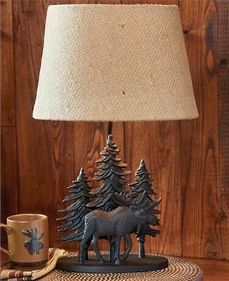 Primitive Black Moose Lamp With Shade In Black By Park Designs. Country Lamp