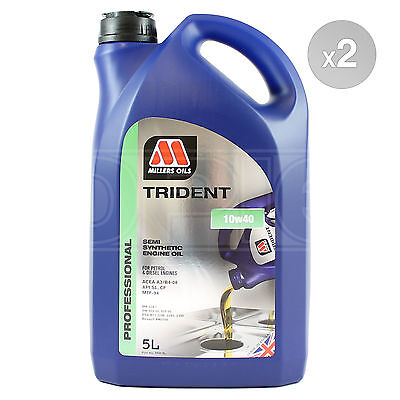 Millers Oils TRIDENT 10w-40 Semi Synthetic Engine Oil 2 x 5 Litres 10L