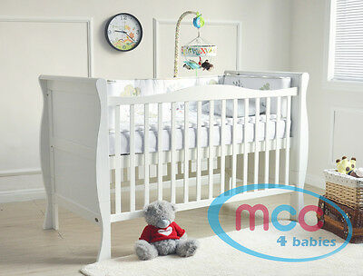 MCC Solid Wooden Baby Cot bed Sleigh Cotbed Toddler Bed Water Repellent Mattress