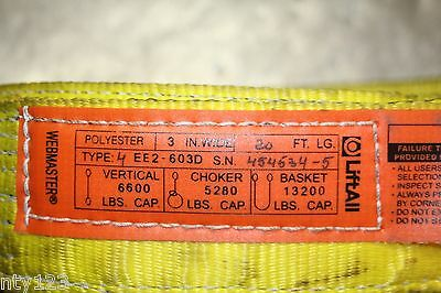 WEBMASTER LIFTALL Nylon 2-Ply lifting Sling Twisted Eye-Eye EE2-603D 3IN X 20FT