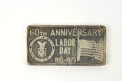 1973 1 Troy Oz. 999 Fine Silver Great Lakes Mint 60th Anniversary Labor Day Bar