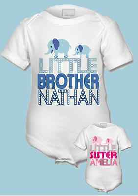 PERSONALISED little brother/little sister babygrow/bodysuit/vest ANY NAME