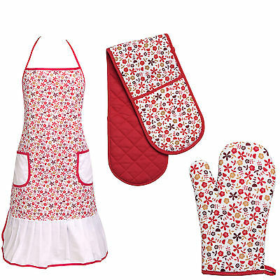 Amazing Red Daisy Design Oven Glove Single Glove Double Glove And Apron Set